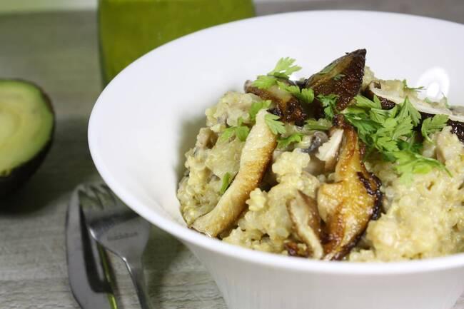 Recette Risotto de quinoa aux champignons et pecorino - Salade verte (SG)