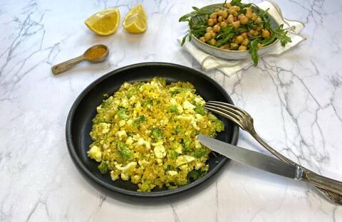 Recette Chou-fleur et brocoli en boulgour, salade de pois chiches