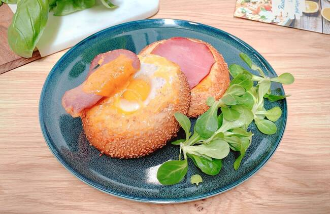 Recette Bagels aux œufs et au bacon, tzatziki