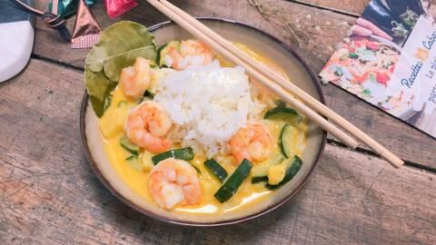Recette de Crevettes et légumes à la thaïlandaise, riz (SG)