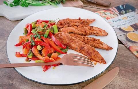 Recette de Aiguillettes de canard au pesto de tomates, légumes grillés (SG)