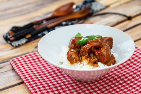 Recette Porc au caramel, petits pois et riz basmati (SG)
