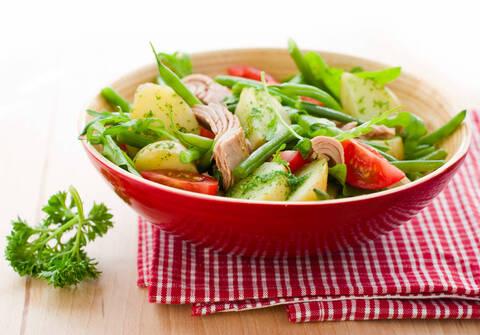 Recette Salade de pommes de terre au thon, pousses d'épinards et tomates cerises (SG)