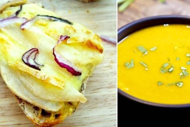 Recette Tartine reblochon-poire, soupe du marché