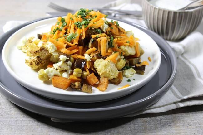 Recette Légumes rôtis feta-pois chiches, sauce yaourt (SG)