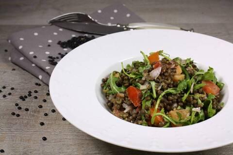 Recette de Salade de lentilles beluga aux tomates  et roquette (SG)
