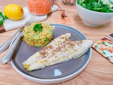 Recette de Filets de daurade grillés, lentilles corail aux courgettes (SG)