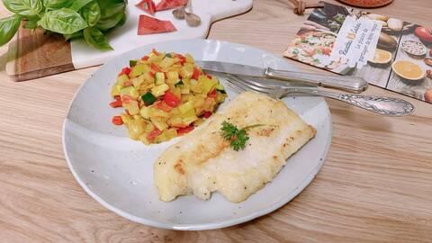 Recette Merlu façon meunière, poêlée de légumes (SG)