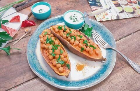 Recette Patates douces farcies aux pois chiche (SG)