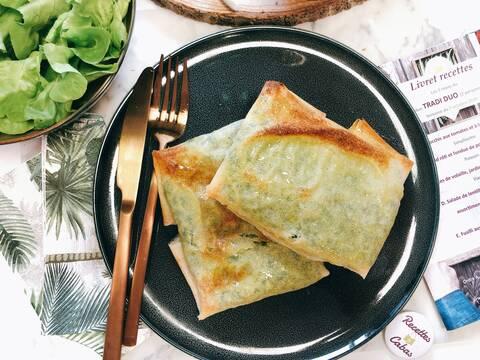 Recette Bricks tomates-poivrons-cabécous, salade et pommes de terre au four