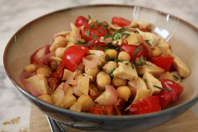 Recette Salade complète de pois chiches à l'orientale - Radis (SG)