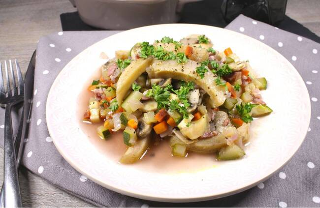 Recette Légumes en barigoule, pâtes fraiches
