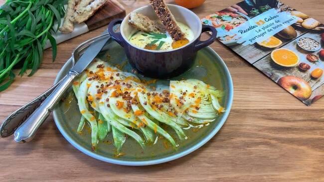 Recette Carpaccio de fenouil à l'orange aux graines kasha - Œufs cocottes à l'estragon