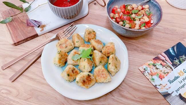 Recette Bouchées croustillantes de boulgour à la tomme de brebis - Salade tomates-pois chiche