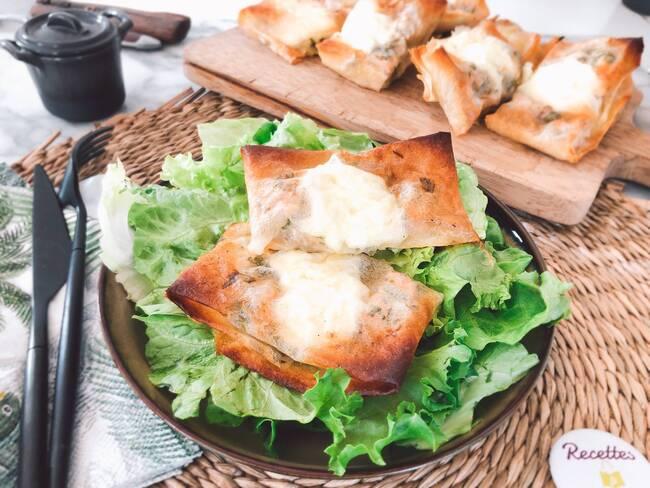 Recette Croustillant au saint marcellin et aux noix, salade, pommes de terre sautées