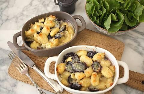 Recette Gnocchis gratinés chèvre-raisins frais