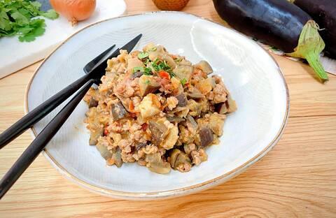 Recette Fondue d'aubergines confites et veau haché aux épices mexicaines (SG)