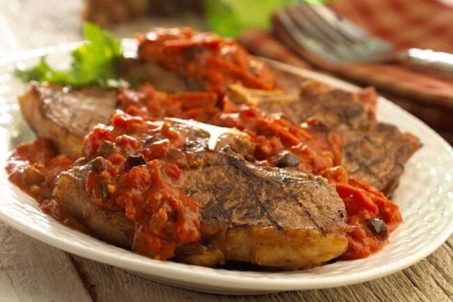 Recette Steaks à la pizzaïola, légumes sautés