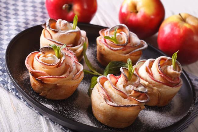 Recette Roses de pommes feuilletées au speculoos