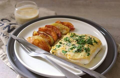Recette Filets de dorade au cidre, duo de pommes rôties (SG)