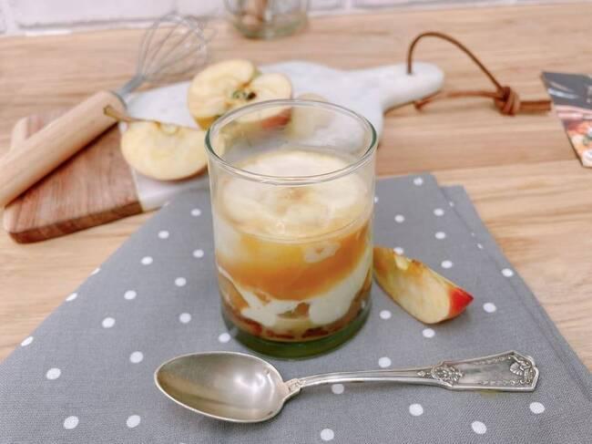 Recette Mousse de caramel aux pommes fondantes sur pain d'épices