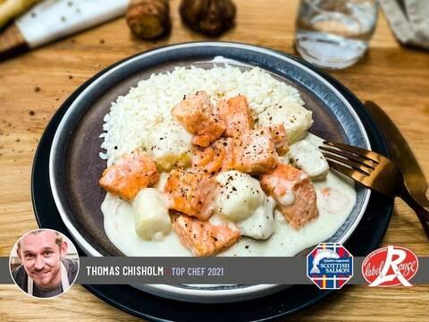 Recette de Blanquette de saumon Ecossais Label Rouge et légumes racines - Riz