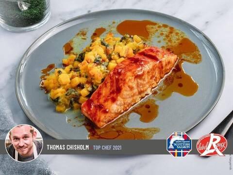 Recette Pavé de saumon Ecossais Label Rouge rôti au tandoori, risotto de courge butternut (SG)