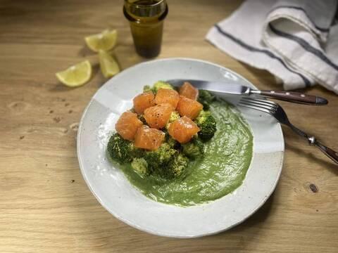 Recette Saumon Ecossais Label Rouge mariné, brocoli et sauce à l'oseille (SG)