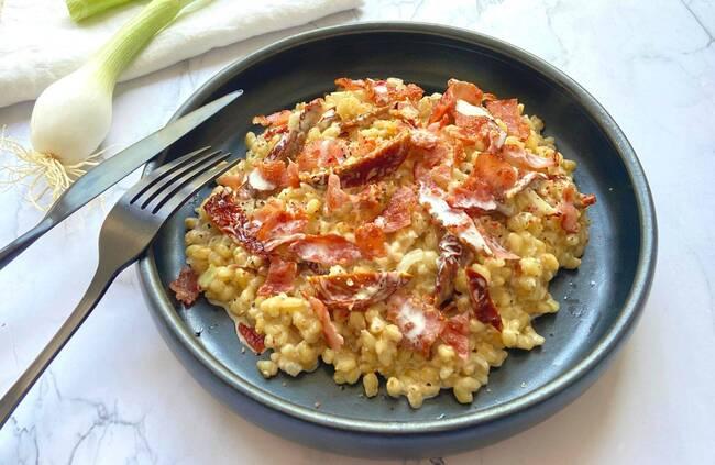 Recette Risotto de blé, tomates séchées, bacon