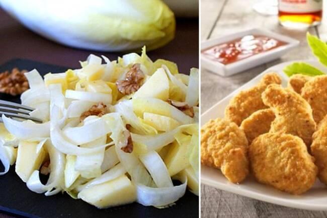 Recette Salade d'endives aux noix, soy nuggets