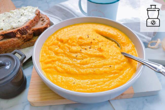 Recette Velouté de carottes/coco, tartines de fromage