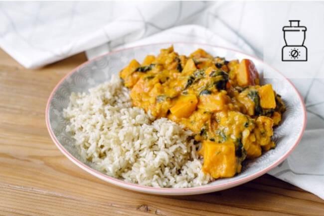 Recette Curry doux de potiron, riz thaï