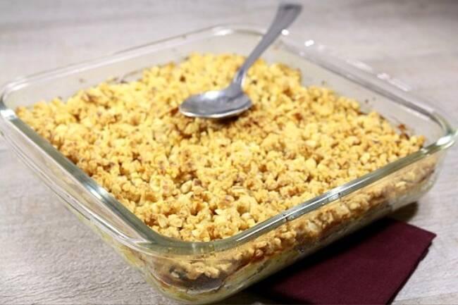 Recette Crumble de poireaux, salade verte