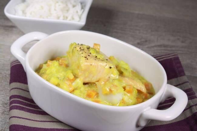 Recette Blanquette de poisson aux légumes, riz