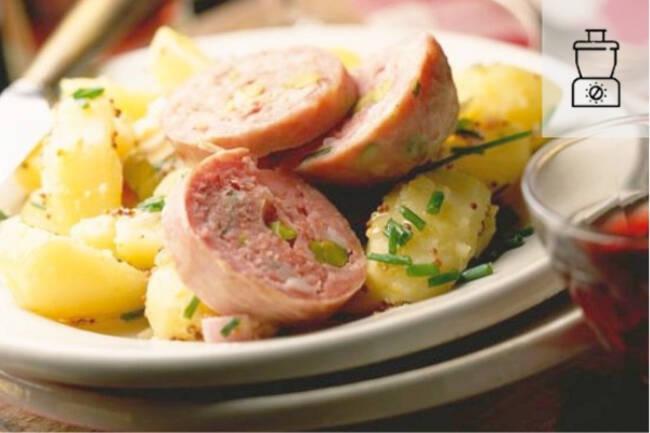 Recette Saucisson à cuire pistaché, pommes vapeur