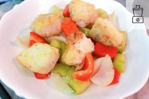 Recette de Wok de poisson blanc à l'aigre doux, riz