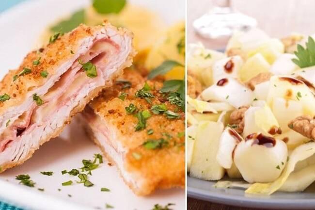 Recette Cordon bleu maison, salade  d'endives/pommes