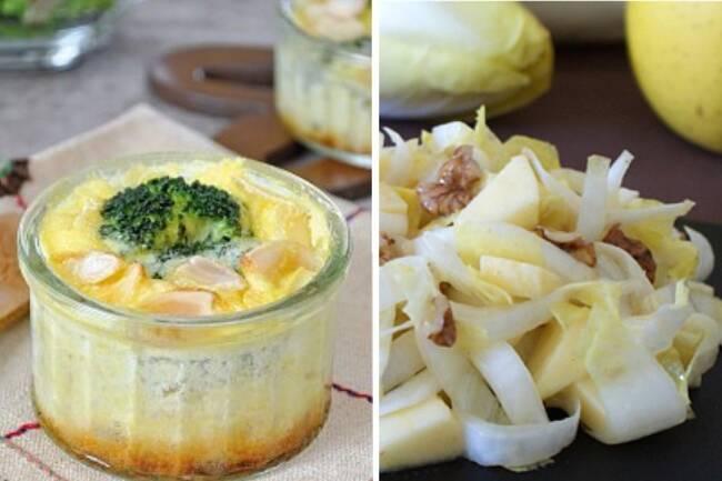 Recette Salade d'endives et pommes, flan de brocoli