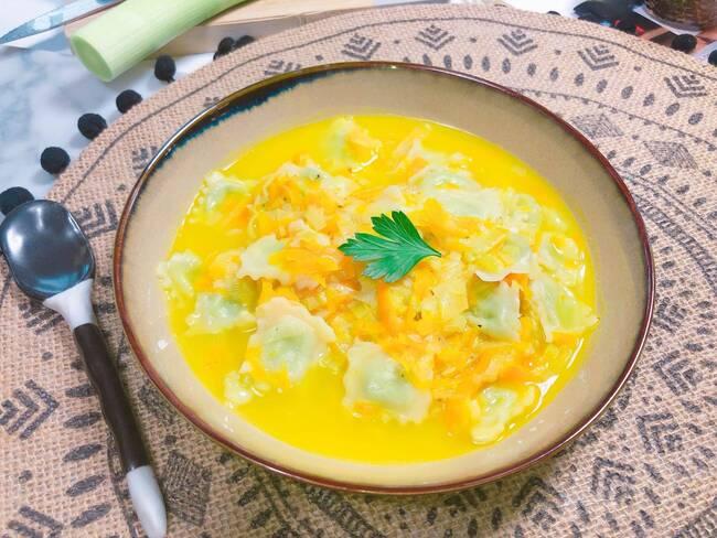 Recette Soupe de courge aux ravioles de Romans