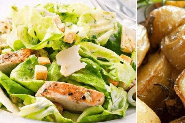 Recette Salade Caesar complète -Pommes de terre