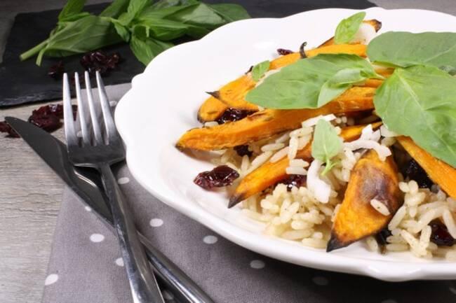 Recette Patates douces, riz épicé aux cranberries