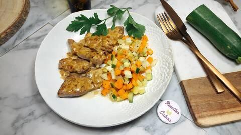 Recette de Aiguillettes de canard à la crème d'échalote, brunoise de légumes (SG)