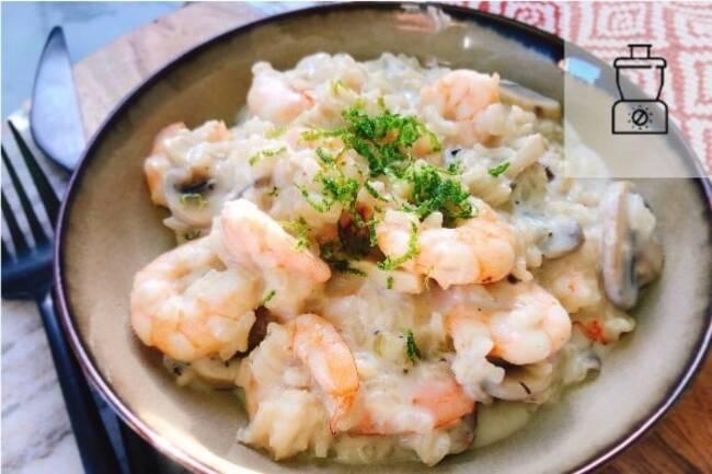 Recette Risotto crevettes, champignons, lait de coco