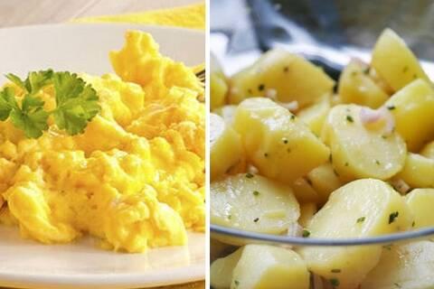 Recette de Œufs brouillésparmesan,pommes de terre
