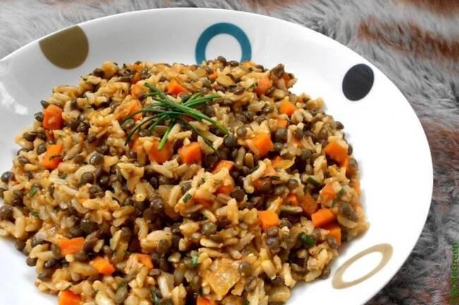 Recette Lentilles orientales aux légumes