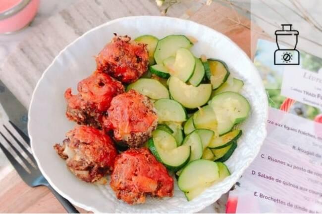 Recette Boulettes de bœuf meatloaf, courgettes