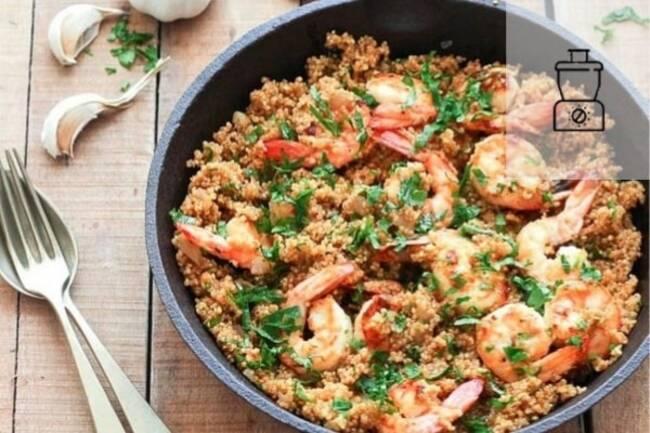 Recette Crevettes au quinoa  et aux légumes frais