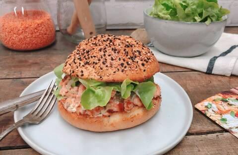 Recette Burger aux deux saumons - Salade verte