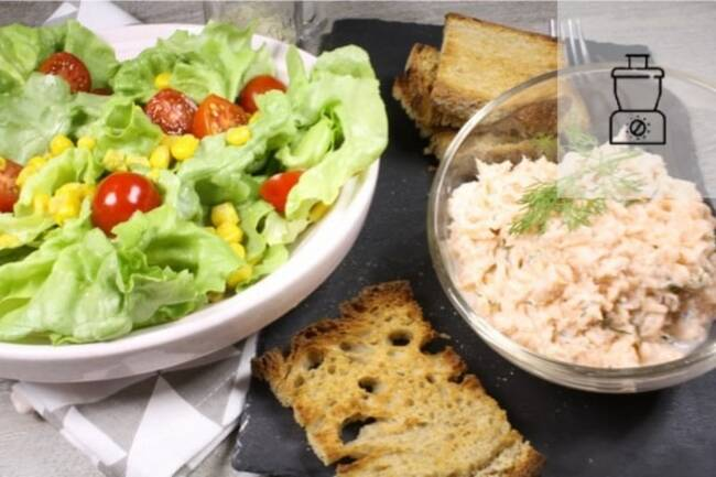 Recette Rillettes aux deux saumons, salade composée