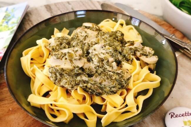 Recette Tagliatelles crème d'oseille et champignons